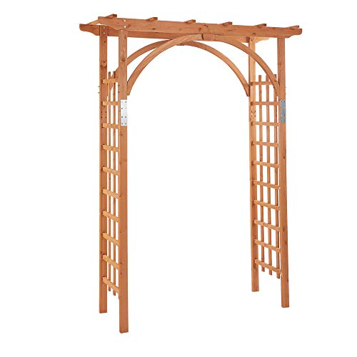 Outsunny Arco in Legno da Giardino con Pergola e Spalliera per Piante Rampicanti, Decorazioni per Matrimonio e Patio… Casa e giardino
