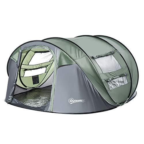 Outsunny Tenda da Campeggio Pop Up 4-5 Posti, 2 Porte e 4 Finestre Telo Impermeabile, 263.5x220x123cm Verde Scuro Campeggio e trekking