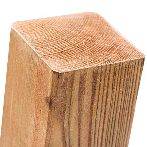 Pali in legno impregnati, in 18misure, in Legno di Pino con testa piatta, colore: marrone, quadrati, per il fissaggio di recinzioni & protezione della privacy, Marrone Casa e giardino