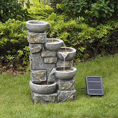 Peaktop Ornamento in Pietra da Giardino con Fontana ad energia Solare con luci PT-SF0003, 68,6 x 43,2 x 30,5 cm Casa e giardino