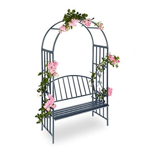 Relaxdays 10020698 pergola Arco da Giardino con Panchina, Antracite, 50x115x205 cm Casa e giardino