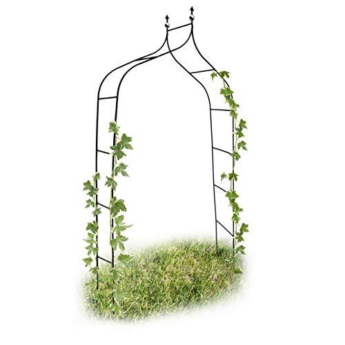 Relaxdays Arco da Giardino Decorazioni per Il Giardino Arco Piante Rampicanti, Metallo, 2.4 mt, Verde Scuro Casa e giardino