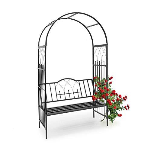 Relaxdays Arco da Giardino con Panca Incorporata e, HBT 203 X 114.5 X 59 cm, Ideale per Due Persone in Acciaio… Casa e giardino