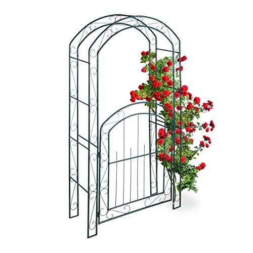 Relaxdays Arco per Rose con Cancelletto, Sostegno per Rampicanti, in Metallo, Resistente, HLP 215x115x43 cm, Verde Scuro Casa e giardino
