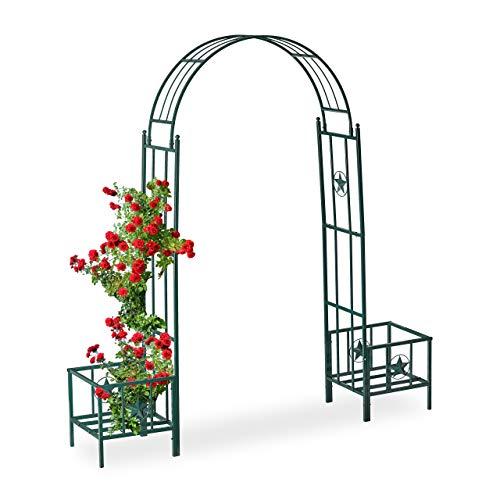 Relaxdays Arco per Rose con Fioriere, in Metallo, Resistente alle Intemperie, da Giardino, HLP 226 x 204 x 43 cm, Verde… Casa e giardino
