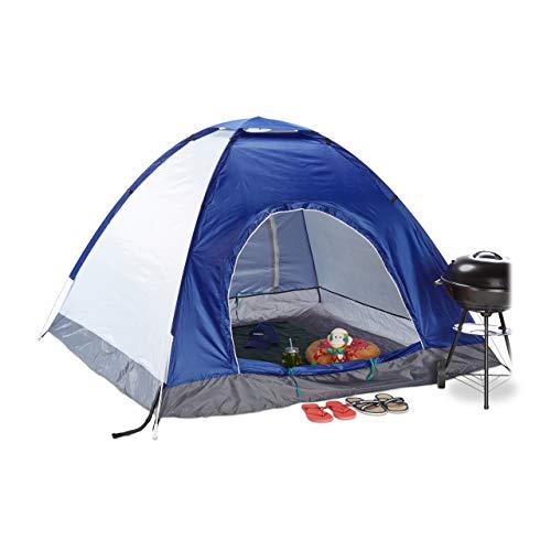 Relaxdays Tenda da Campeggio Pop Up, Quadrata & Compatta, Esterni, Outdoor, Idrorepellente, HLP 135x200x200, UV 50+, Blu Campeggio e trekking