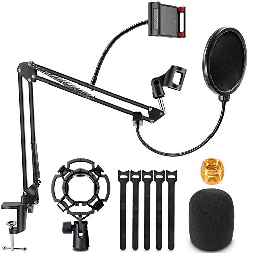 Renfox Supporto Microfono Regolabile Professionale Braccio per microfono Con Ragno e Adattatore per Studio Registrazione… Strumenti e accessori musicali