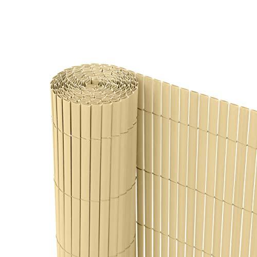 Ribelli Canniccio PVC Recinzione recinto Balcone frangivento, colorazione:bambù, Distanza:3 Metri, rialzamento:80 cm Casa e giardino