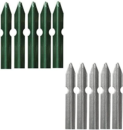 Set 5 Paletti a T per Recinzione in Acciaio Plasticato VERDE o in Acciaio ZINCATO per Sostegno Reti Recinzione Giardino… Casa e giardino