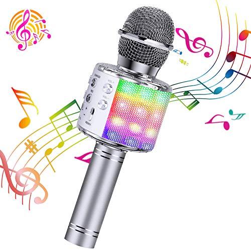 ShinePick Microfono Karaoke, 4 in 1 Bluetooth Wireless LED Flash Microfono Portatile Karaoke Player con Altoparlante per… Strumenti e accessori musicali