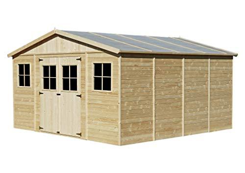 TIMBELA M330 Casetta da giardino in legno per esterni – Rimessa in pino / abete, costruzione dei pannelli – H246 x 418 x… Case in legno