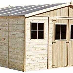 TIMBELA M330 Casetta da giardino in legno per esterni – Rimessa in pino / abete, costruzione dei pannelli – H246 x 418 x… Offerte e sconti