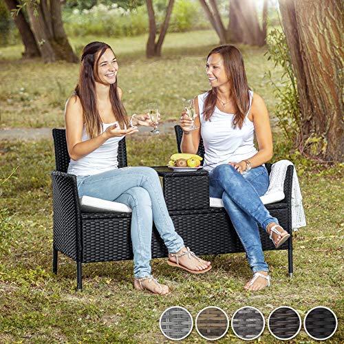 TecTake 403223 Divano da Giardino, Divanetto Tavolino da Giardino, Polyrattan, Cuscini, Grigio Casa e giardino