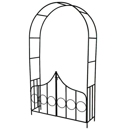 TecTake Arco Giardino in Ferro per rampicanti Arco per Rosa decorationi con Porta Casa e giardino