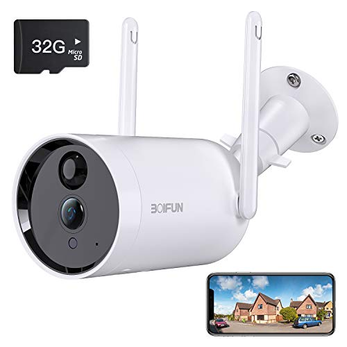 Telecamera WiFi Senza Fili da Esterno,[Scheda SD da 32 GB Installata] BOIFUN Sicurezza Sorveglianza con 10400 mAh…