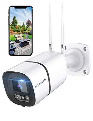 Telecamera di sorveglianza wifi da esterno, 1296P HD 3MP, Lega di alluminio e impermeabile IP66, disponibile con Alexa…