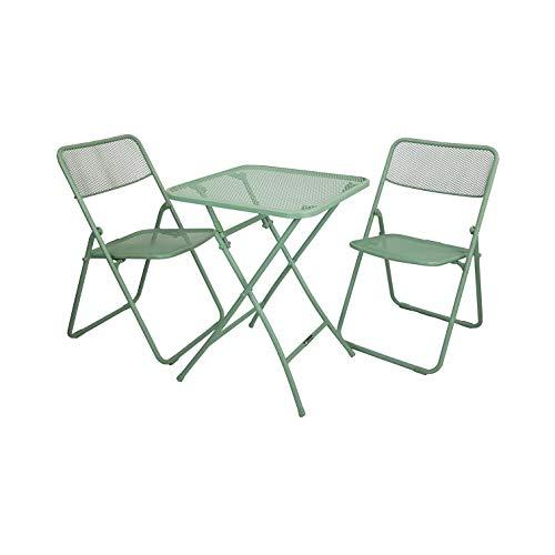 Totò Piccinni Tavolo e Sedia da Giardino Pieghevole per PIC-Nic Campeggio Casa in Simil Rattan (Set Manhattan in Metallo… Casa e giardino