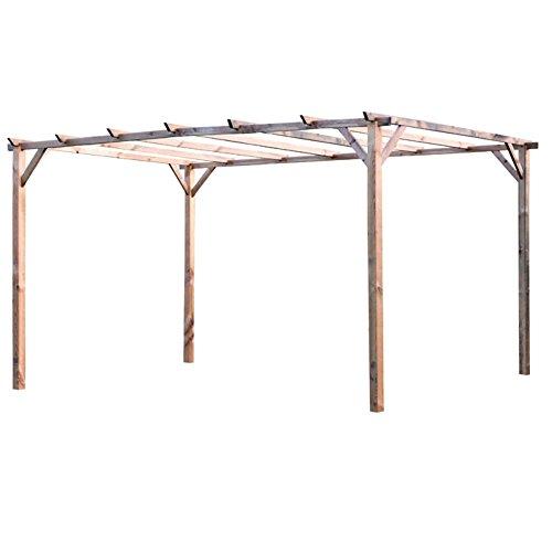 VERDELOOK Pergolato in Legno impregnato 3×4 m, per la Protezione dal Sole e Arredamento Esterni Casa e giardino