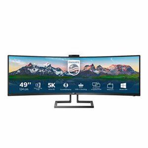 Philips Monitor Curvo 49″, Gaming Superwide 32:9, Risoluzione 5120×1440, Adaptive Sync, HDR 400, Multiview con KVM Switch Integrato, Webcam a Scomparsa, Regolazioni Ergonomiche, Low Blue, Vesa, Nero Informatica