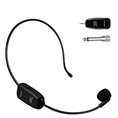 XIAOKOA wireless microfono,UHF Microfono Senza fili, 50 m Di Trasmissione Wireless,Archetto e Palmare 2-in-1,per Guida… Strumenti e accessori musicali