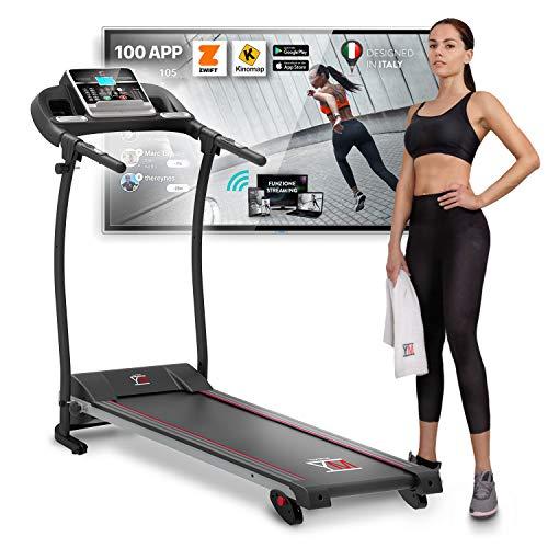YM TAP100APP Tapis Roulant Elettrico Pieghevole 11 km/h App KINOMAP & ZWIFT Video/Coach, Sensore Cardio Inclinazione… attrezzature sportive