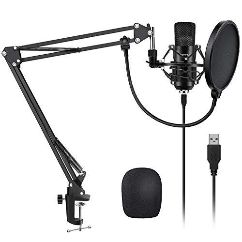 YOTTO USB Microfono a Condensatore Kit 192kHZ/24bit Microfono di Registrazione per Computer PC YouTube con Filtro… Strumenti e accessori musicali