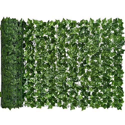 YQing Artificiale Siepe Finta Foglia Edera, Siepe artificiale con foglie Ornamentale in Rotoli per Arredo Esterni… Casa e giardino