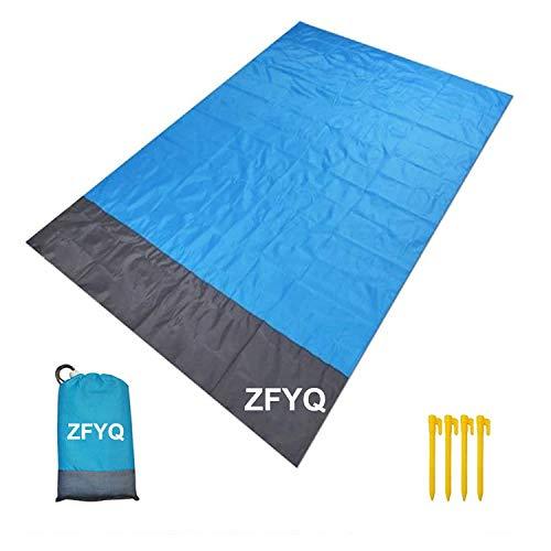 ZFYQ Coperta da Spiaggia, 200 x 140 cm Anti Sabbia Portatile Coperta da Picnic con 4 Picchetti Fixed per Picnic… Campeggio e trekking