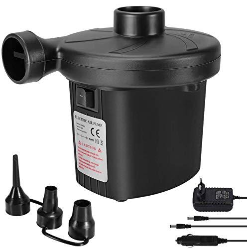 Zaeel Pompa Elettrica, Pompa Elettrica per Materasso Gonfiabile[DC12V/AC240V] con 3 Ugelli, Gonfiabili Veloci, Usato per… Campeggio e trekking
