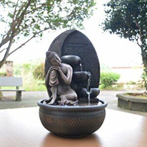 Zen'Light Fontana Buddha Grace, Resina, Bronzo, 26 x 26 x 40 cm Casa e giardino