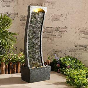 Peaktop Curvo Ardesia Giardino d'inverno con Fontana d'Acqua con luci RJ-19048-EU, Grigio Antracite, 33 x 20 x 98 cm Casa e giardino