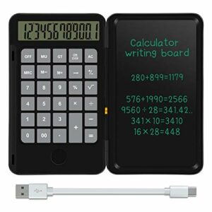 NEWYES Tavoletta da scrittura LCD da 6,5 pollici e calcolatrice di base Calcola e prendi appunti (Nero) Informatica
