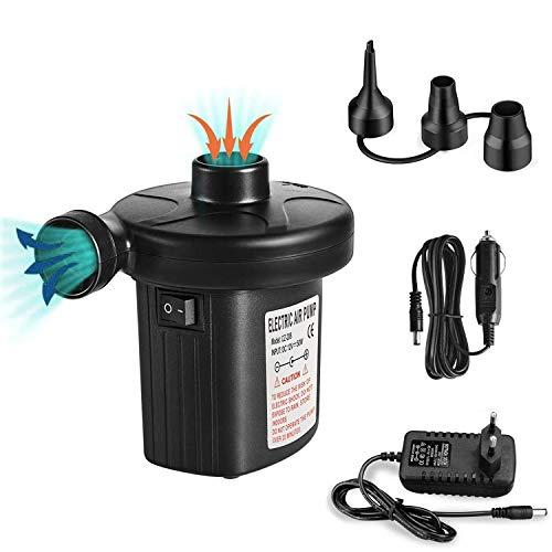 runhua Pompa Elettrica, 2 in 1 Sgonfiando/Gonfiando Pompa Elettrica con 3 Ugelli, DC12V/AC220V, Pompa Gonfiabile, Pompa… Campeggio e trekking