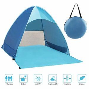 Fenvella Tenda da Spiaggia, Tenda Mare Pop Up Portatile con Protezione Solare UPF 50+ per 2-3 Persone, Custodia Inclusa Campeggio e trekking