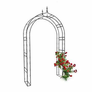 Relaxdays Arco per Rose/Piante Rampicanti con Punte Decorative HBT 242 X 138 X 35.5 cm, con Puntoni per Maggiore… Casa e giardino