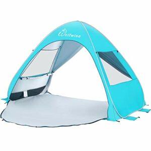 WolfWise Tenda da Spiaggia Portatile Parasole UPF 50 Protezione UV da Spiaggia Pop up Tenda da Sole Bambini Tenda da… Campeggio e trekking
