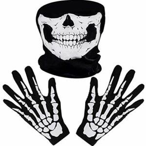 Bianco Scheletro Guanti e Teschio Viso Maschera Fantasma Ossa per Adulti Halloween Costume Danza Festa Offerte e sconti
