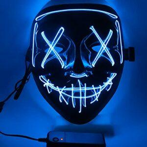 Ptsaying Maschera di Halloween, Maschera di spurgo a LED, Maschera di Halloween Spaventosa Maschera di Halloween per Adulti, Uomini e Donne. (Blu) Offerte e sconti