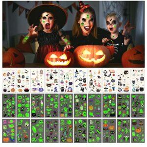 Tatuaggi di Halloween per Bambini, 30 Fogli Tatuaggi Temporanei di Halloween, Luminosi Halloween Tatuaggi Set Tatuaggi Temporanei per Bambini, Adesivo Luminoso Impermeabile Decorazioni di Halloween Offerte e sconti