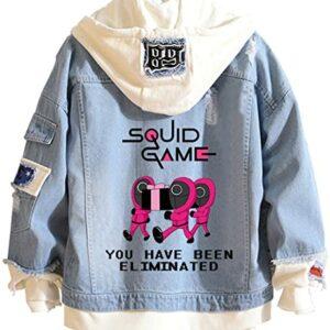 WINKEEY Uomo Squid Game Giacca di Jeans Giacca con Cappuccio Felpa con Cappuccio Cosplay 067 001 456 Squid Game Merch Costumes Offerte e sconti