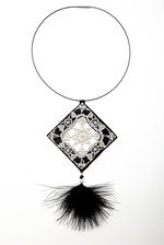 Antique lace-marabou swarovski NECKLACE