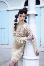 GOLDEN TULLE HANDCRAFTED COCTAIL DRESS