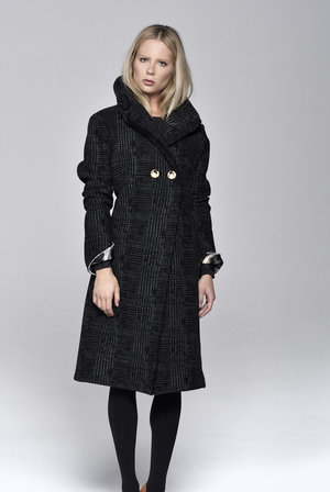 COAT, PRINTED FELT, PATCHED SLEEVES