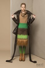 Skirt from textured fauxfur green brown