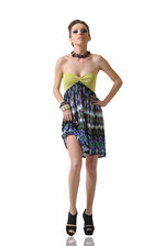 Strapless Tribal Print Dress