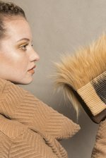 Sand/brown furry wonderfur clutch
