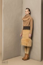 Twotone fauxfur hancrafted skirt