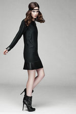 black silk and lamb leather dress