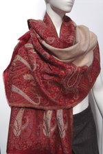 Ecru/Red Patterned Scarf