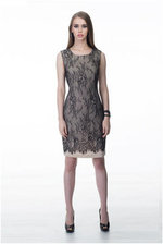Black Lace Overlay Cocktail Dress